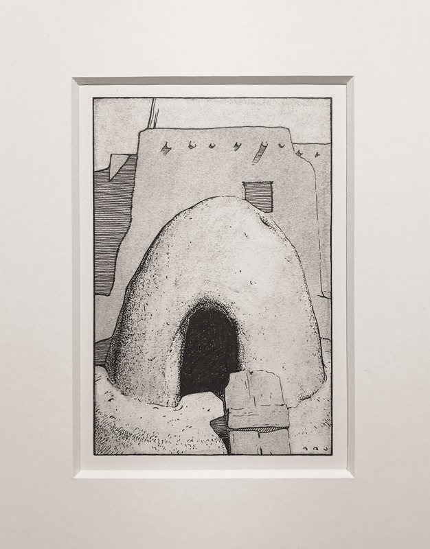 "(SOLD) ""Mud Oven, Taos Pueblo"" 6""x4"" Pen & Charcoal"