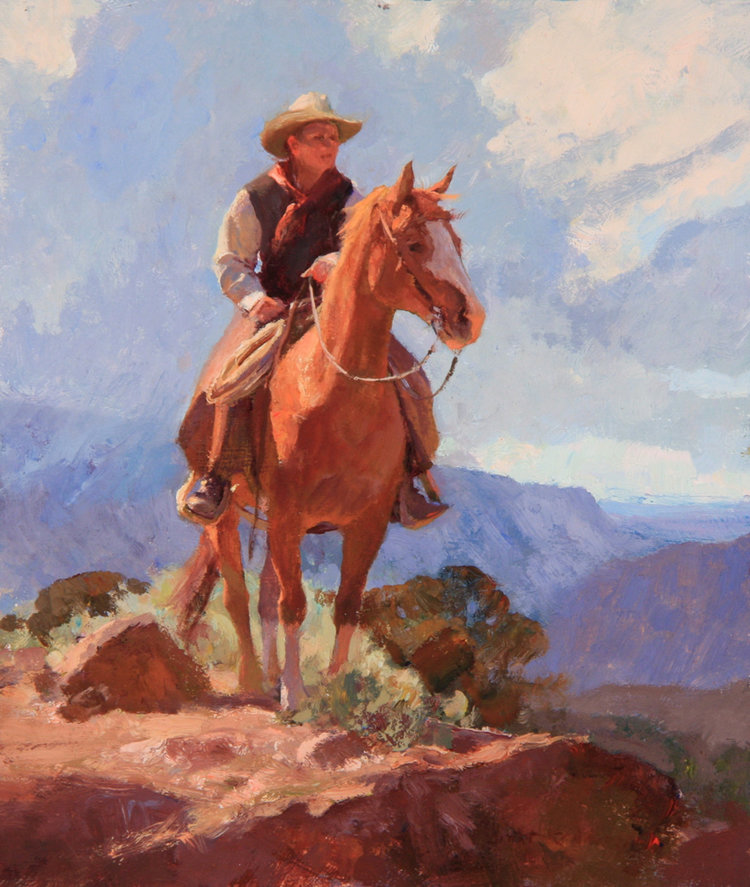 """(SOLD) """"Young Cowboy"""" 12""""x10"""" Oil"""