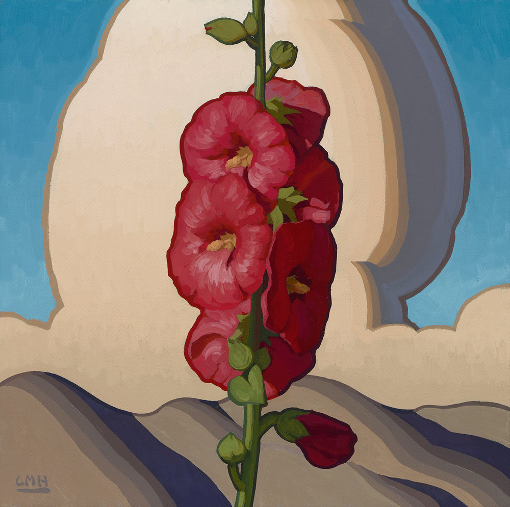 "(SOLD) ""Adobe Hollyhocks"" 16""x16"" Oil"