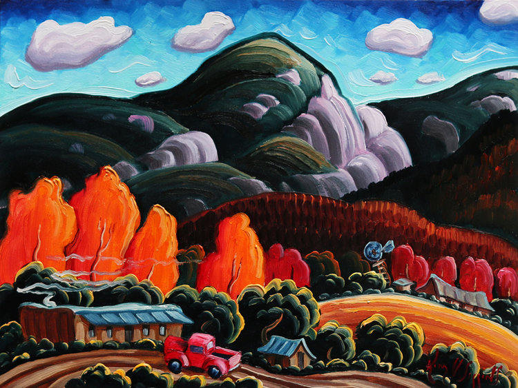 "(SOLD) ""Autumn On The Road To Taos"" 6""x8"" Oil"