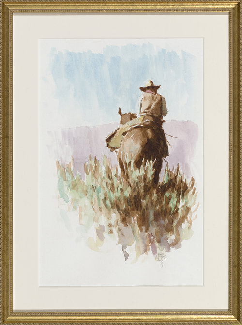 """(SOLD) """"Mid Day Ride"""" 14""""x10"""" Watercolor"""