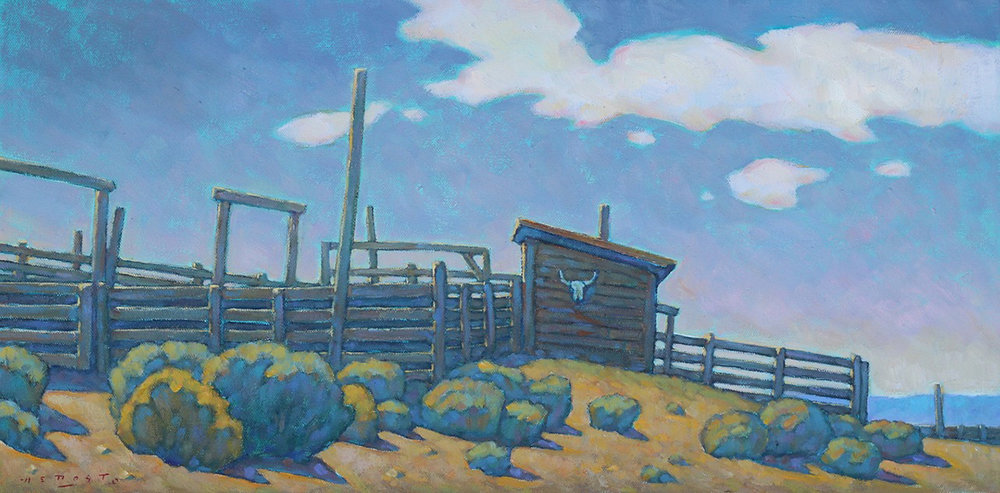 "Howard Post ""Vintage Corrals"" 12""x24"" Oil"