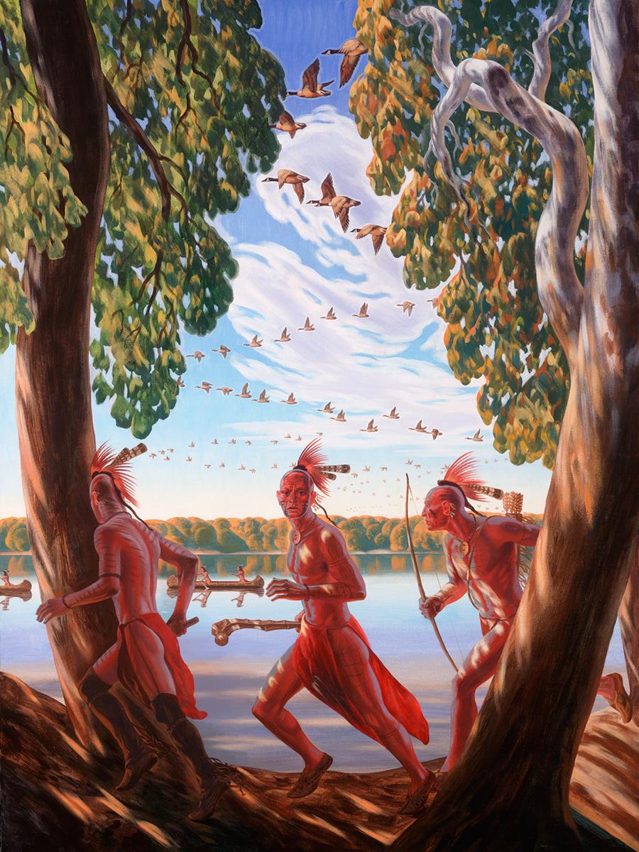 """Bryan Haynes """"Portage de Sioux"""" 40""""x30"""" Oil"""