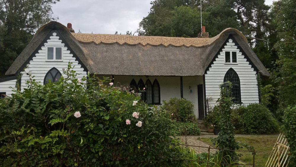 re-ridged thatched cottage in east sussex