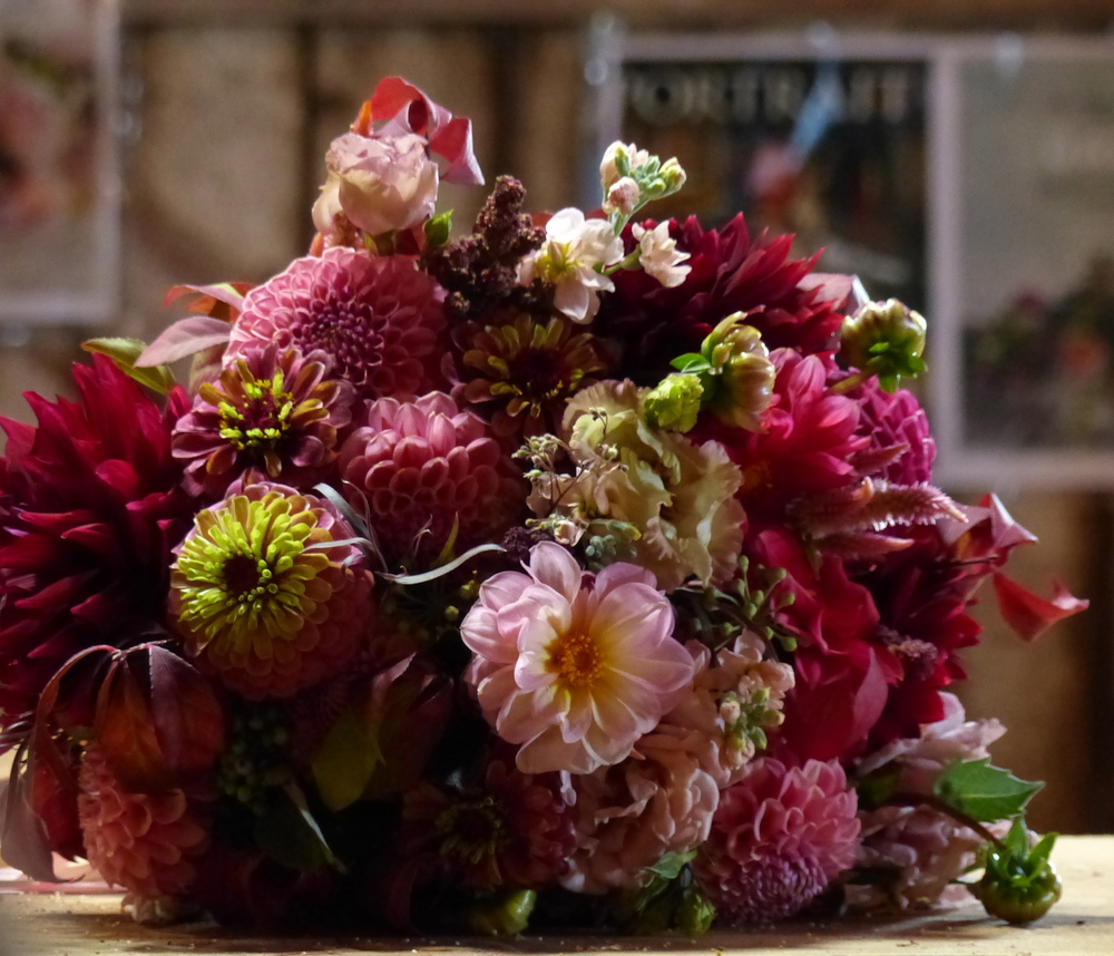 Sample bridal bouquet with scabiosa zinnias, dahlias, celosia, lisianthus, and snapdragons. Many of these are flower varieties that Petal and Seed will be growing this season.