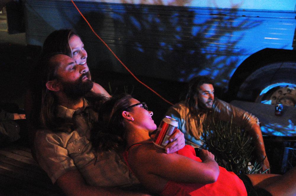 James' partner Laura, James,and their friend Kate cuddling to Derek's set,Wiley working sound.