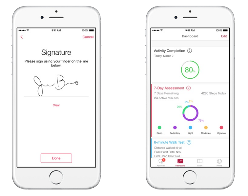 Apple's ResearchKit app dashboard