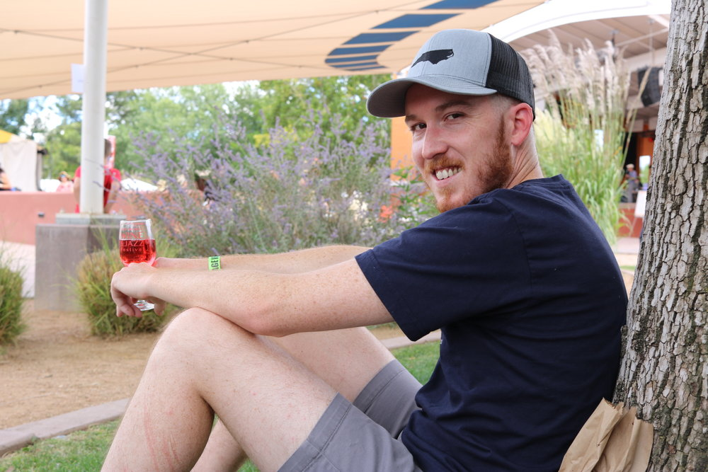 A glass of pink bubbles and a spot in the shade at the NM Wine and Jazz Festival. The weather was perfect. What more could we ask for?