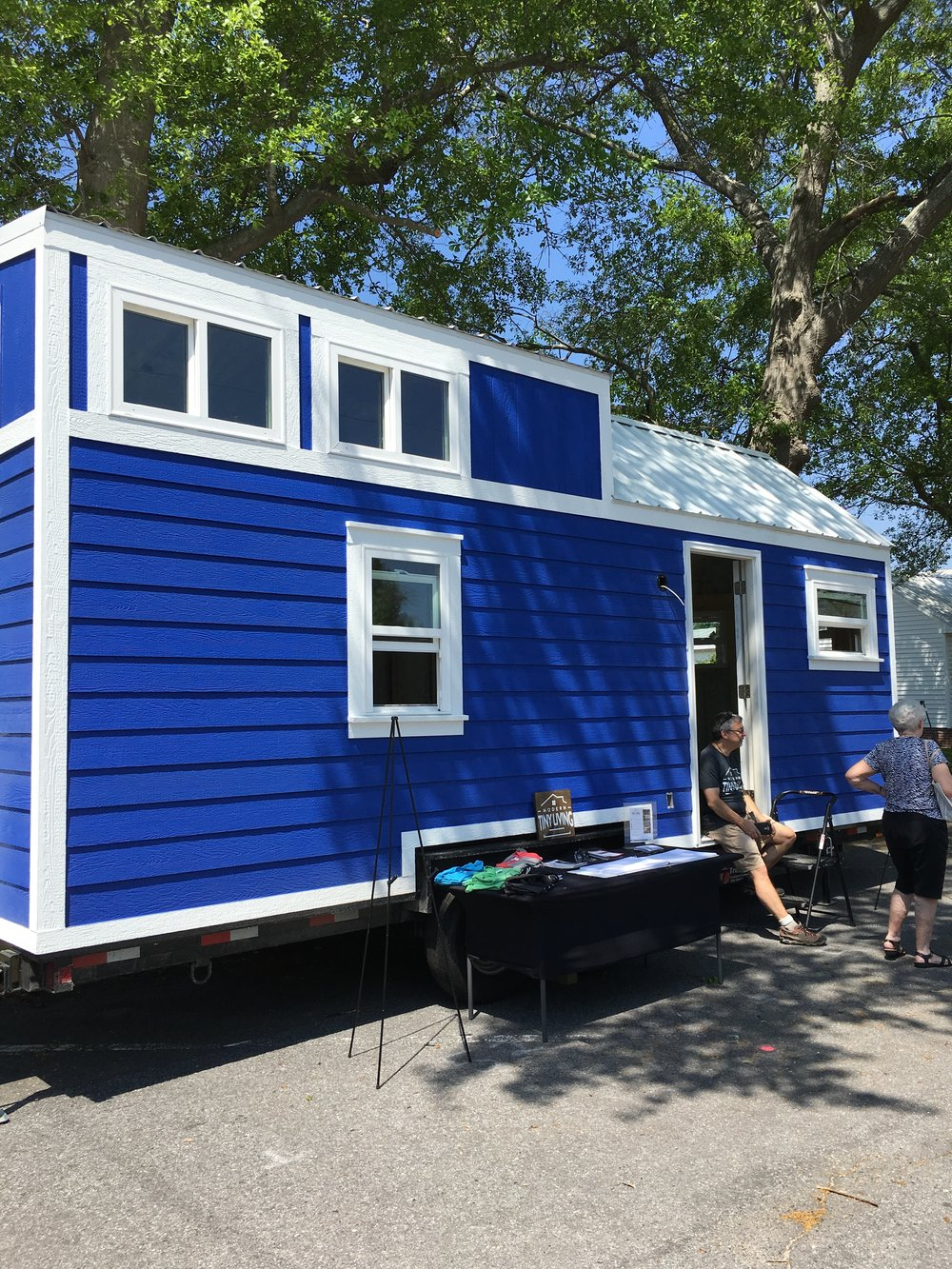 This blue beauty was unfinished on the inside - awaiting someone's tiny house dreams!
