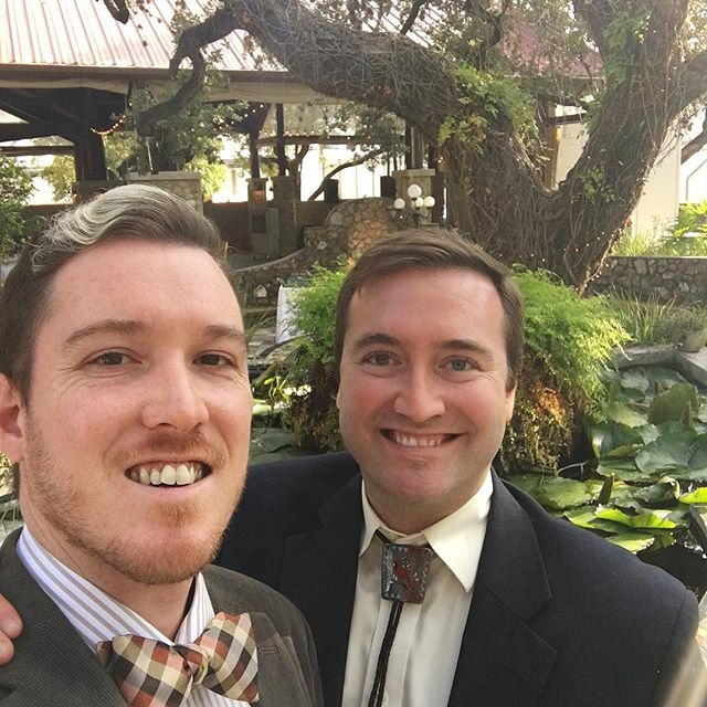 Congratulations Morgan and Lee! We had a great time celebrating last night, so much so that we're still in bed today! 🤣🎉🍷 ... ... ... ... #wedding #weddingtime #destinationwedding #us #selfie #latergram #celebration #travel #igtravel #gaytravel #gaycouple #sanantonio #texas #satx #travelpics #traveldiaries
