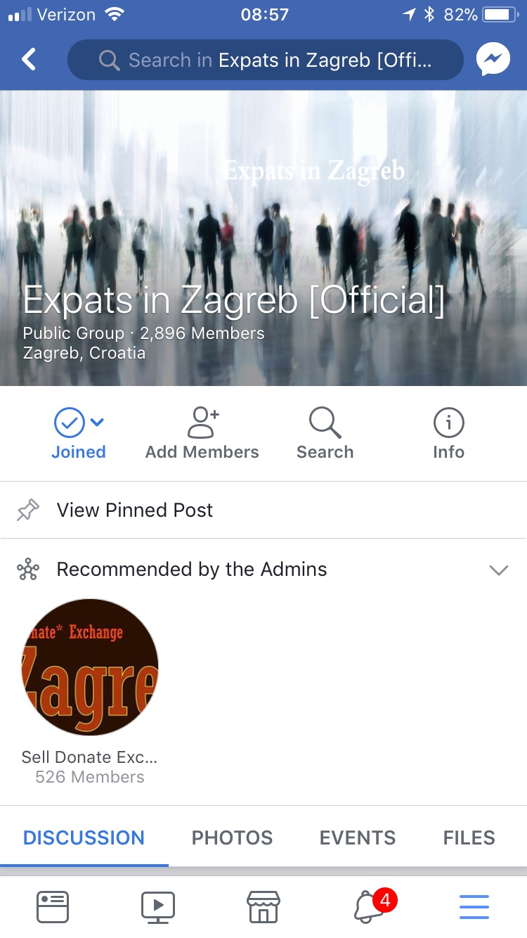 The homepage of the Expats in Zagreb Facebook group