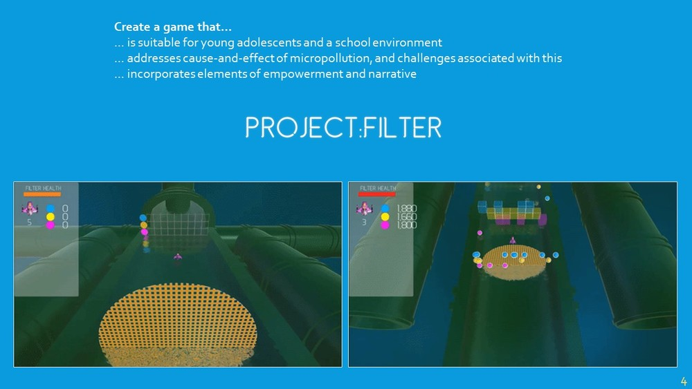 What I've come up with is Project:Filter. It is designed for schoolchildren at the Formal Operational learning stage (from Piaget's learning theory), so around 12-13 years old. Players control a small drone that has been tasked with collecting micropollutants from pipes within the filtering system. Project:Filter highlights the causes of micropollution, and the knock-on effects from associated challenges through small anecdotes that players unlock. Filters spawn periodically to help the player clean the waters, but over time these filters become less frequent and micropollutants spawn more often, adding a scaled element of challenge similar to that of Tetris. This is also intended to give the player a sense of empowerment, as they become less reliant on the filters. The game ends if players lose all their lives, or the filter loses all of its health. The game is intended to be a launching pad for discussion about water pollution, and I'm hoping to work with schools to incorporate this into a wider curriculum project. I have a little book here that I would ask you kindly to leave any comments you have on Project:Filter – because, unfortunately, I have a memory like a sieve…