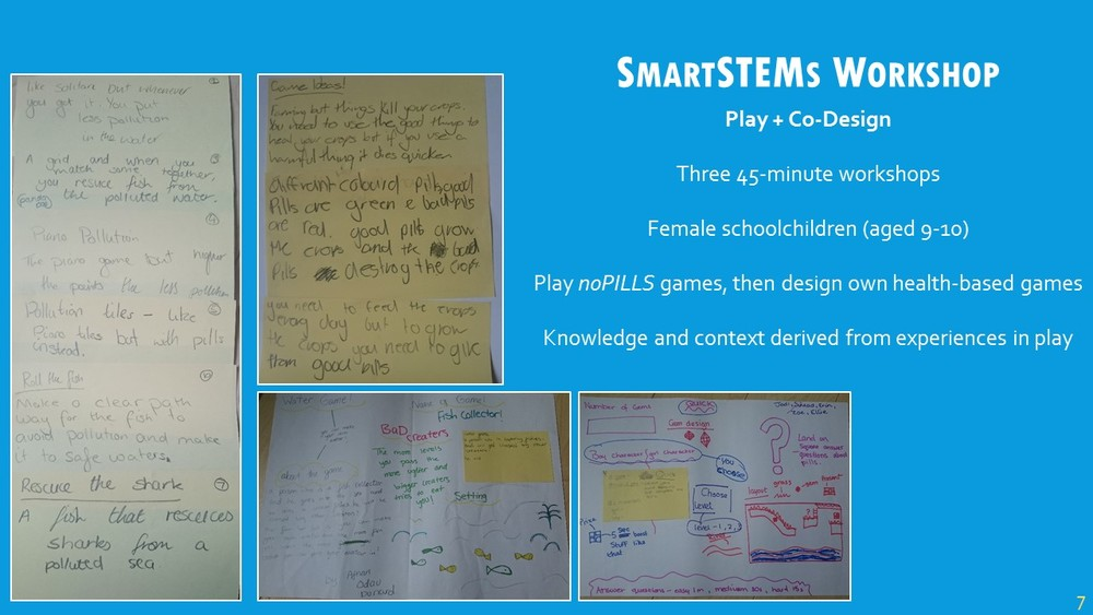 The first pre-study was a design workshop as part of our SmartSTEMs Day at Glasgow Caledonian University, where female schoolchildren were invited to participate in STEM-related subjects. There were three short workshops throughout the day: the schoolchildren played each of the three games, then were put into small groups and challenged with designing a water health game. The games that were designed were expected to show knowledge taken from the games, as well as the ability to take this knowledge and apply it to a specific context, in this case game design. My rationale from this is that game development engaged the schoolchildren in understanding the complexities of a fairly-challenging topic, and we can see as a result the variety of their designs. Most commonly, games went along the lines of very popular games among the groups, such as Subway Surfers, with the context of water pollution embedded within the design, which was a successful outcome in my opinion.