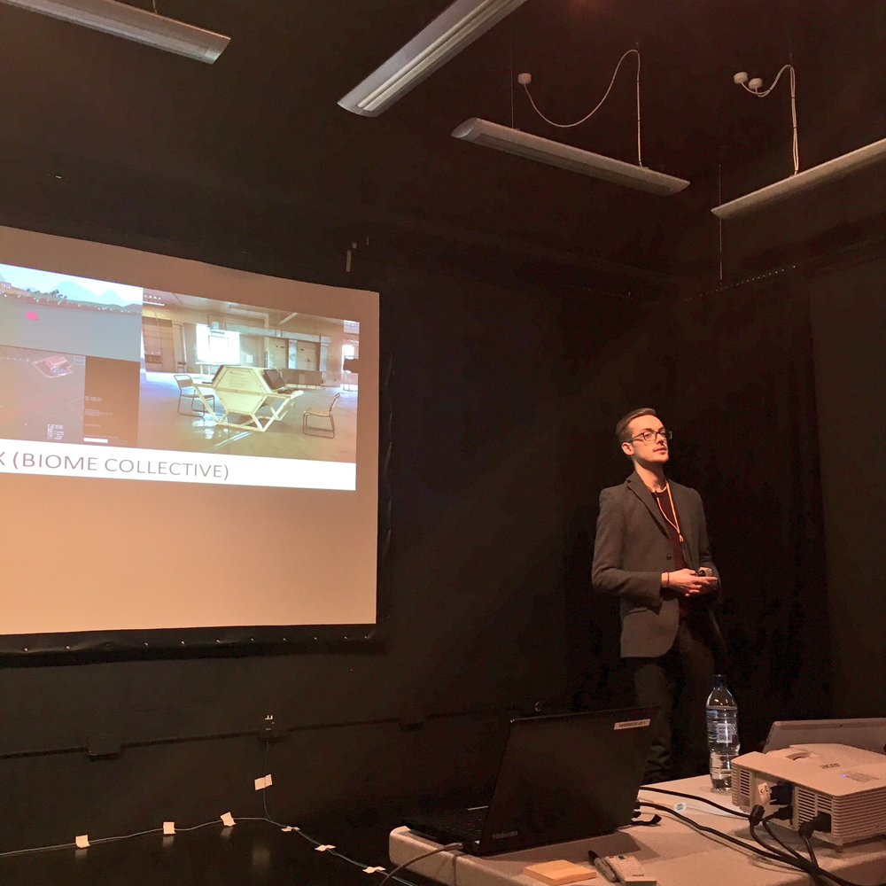 Discussing Killbox (Biome Collective and Joseph DeLappe) as part of my presentation (Image credit: Lauren Currie)