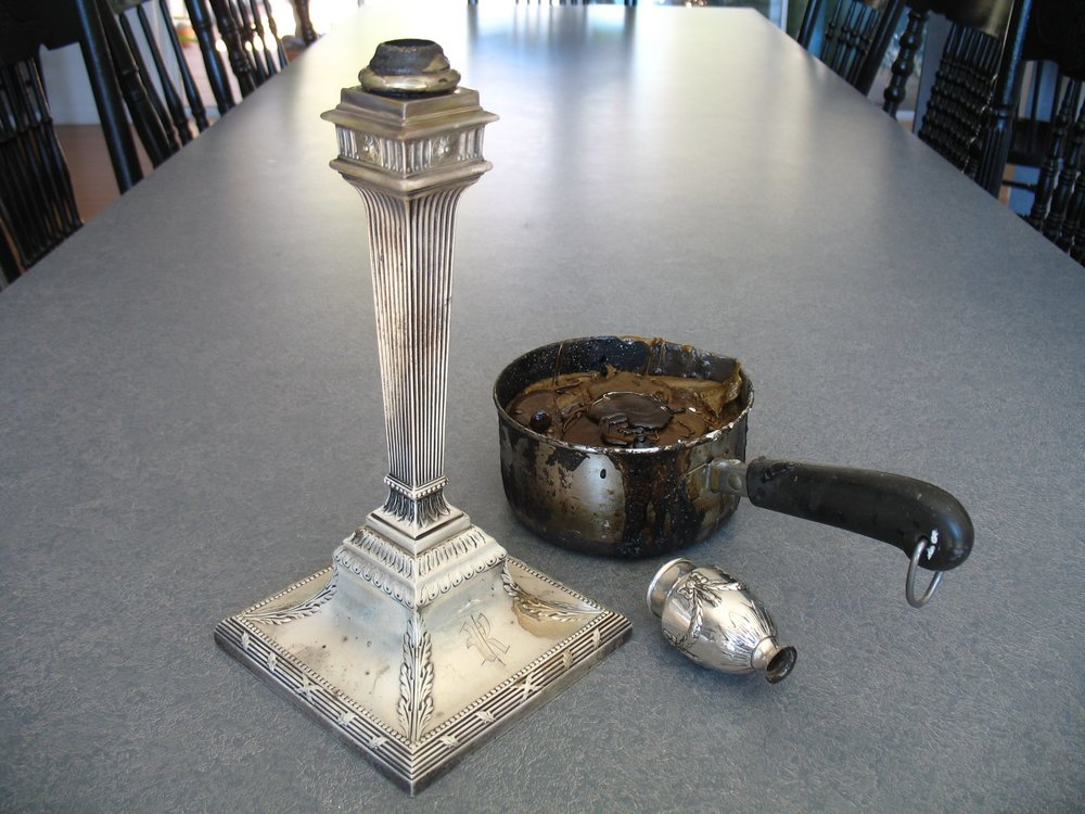 Broken 19th century silver candlestick in progress