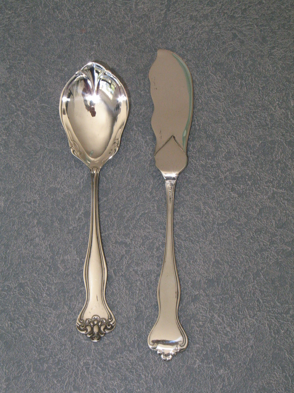 sterling silver jelly spoon and butter knife