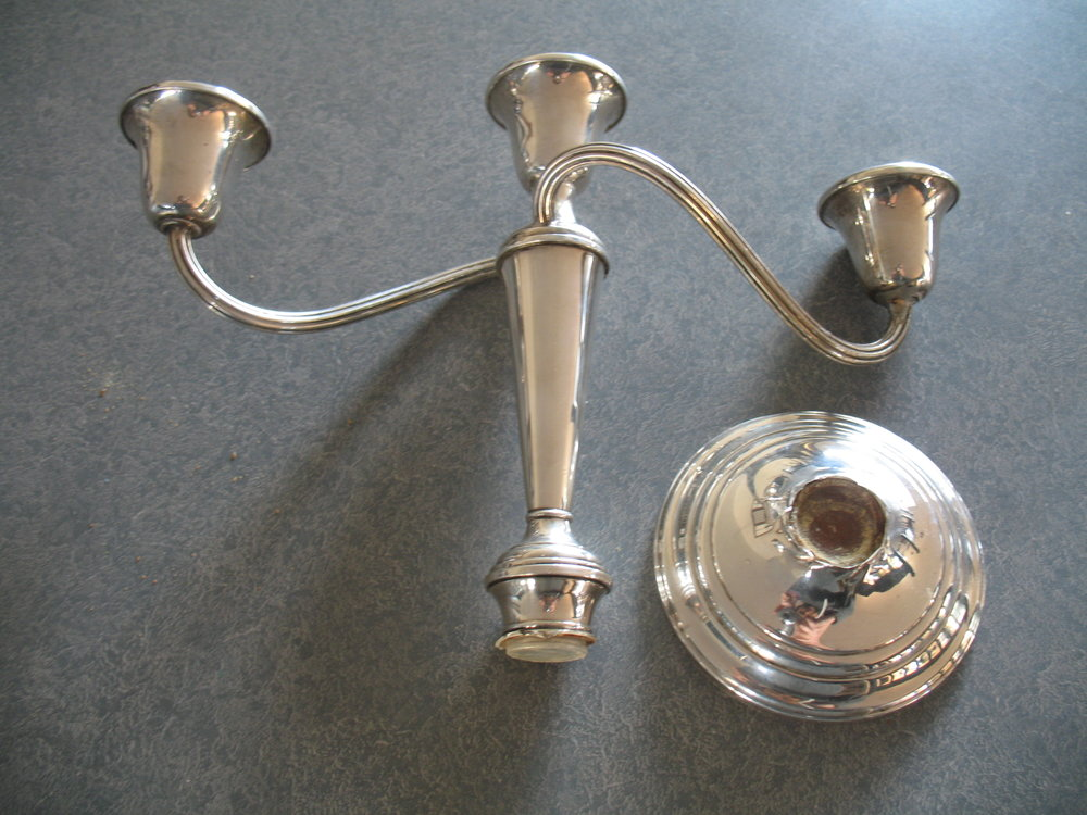 Broken sterling silver candlestick