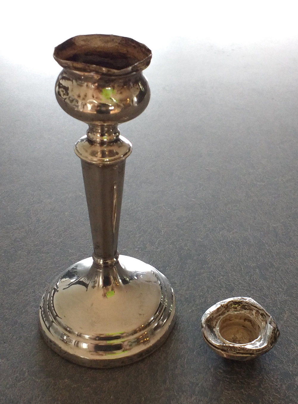 smashed candlecup sterling candlestick