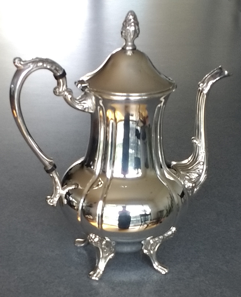 Silverplate Coffeepot with knob repair and spout repair