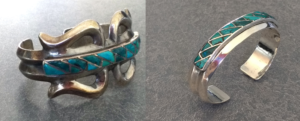 Silver American Indian Jewelry with turquoise is updated for a more modern look.