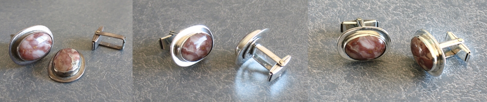 Sterling silver cufflinks were repaired back view