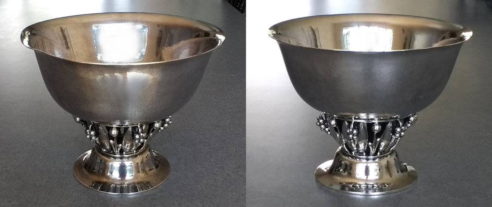 George Jensen sterling silver bowl with the lip of the bowl bent down and dented, and after the dent is removed.