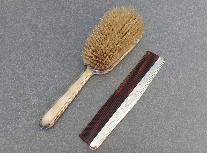 sterling silver brush and comb set
