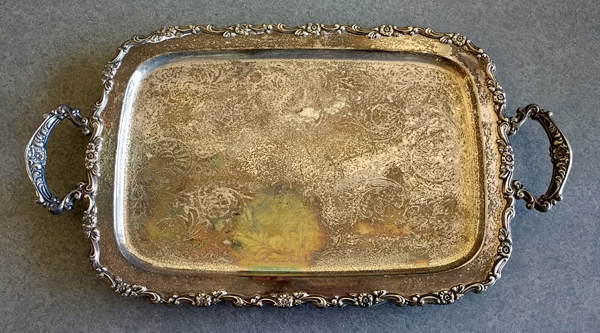 tarnished silverplate tray