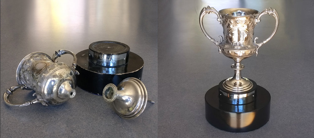 Antique trophy repaired and polished base painted
