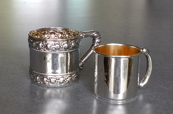Sterling silver baby cups with gold plated interior polished