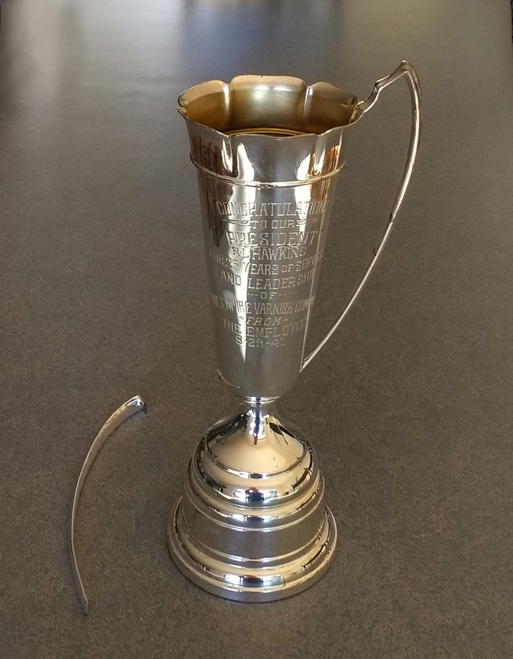 Vintage trophy after removing laequer