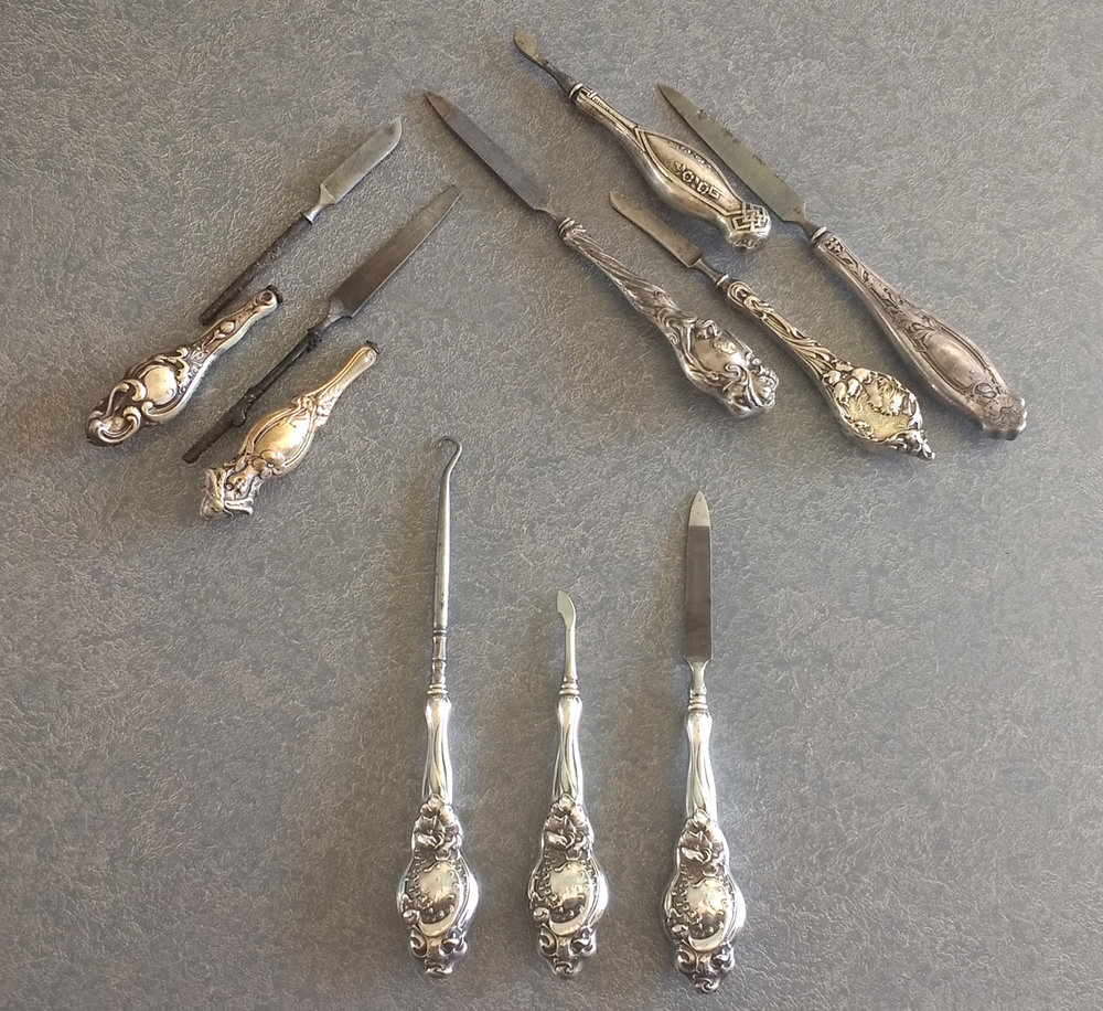 sterling silver dresser set button hook, cuticle knife, file