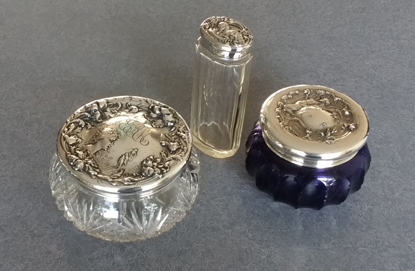 Sterling silver lids for dresser sets restored with dents removed