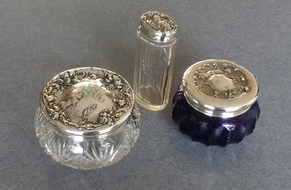 Sterling silver lids for dresser sets restored with dents removed