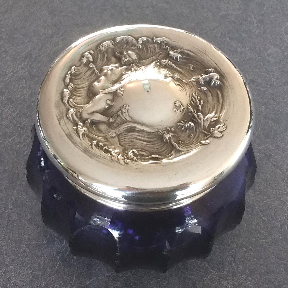 sterling silver dresser set lid restored dents removed