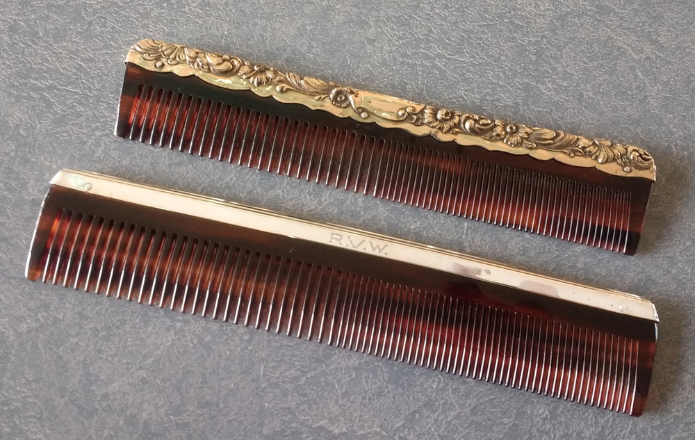 Gold dresser set comb fitter, and sterling silver comb fitter