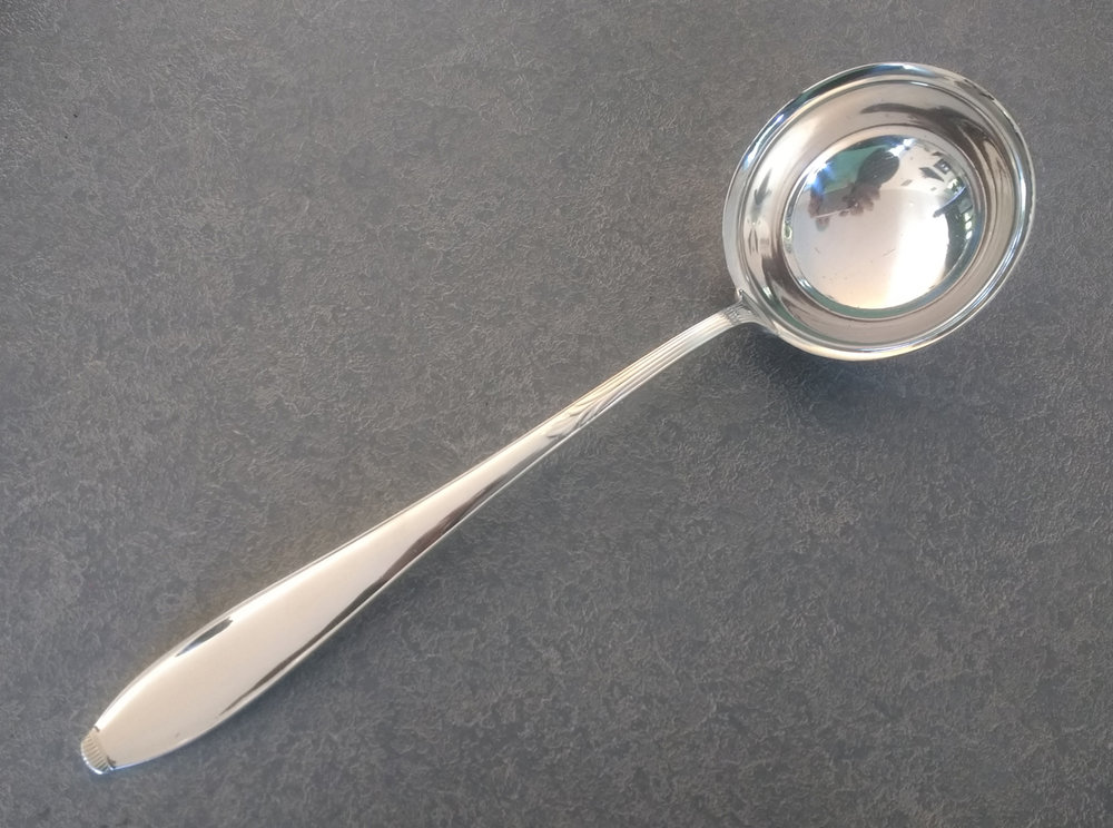 Silver plated ladle with new silver plating
