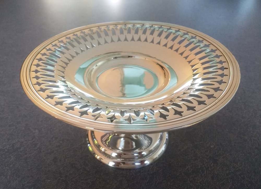 20th century sterling silver candy dish after polishing