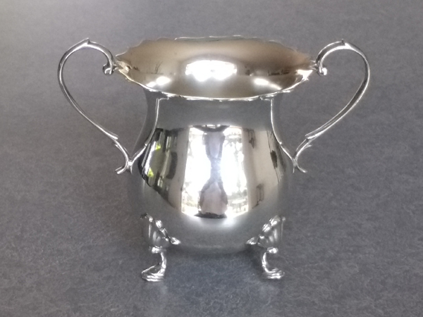 sterling silver sugar bowl polished