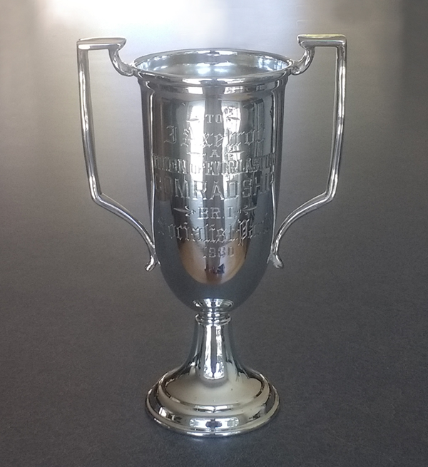 Silverplate trophy restored with new silverplating.