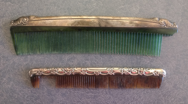 Sterling silver comb fitters with broken teeth in the plastic combs