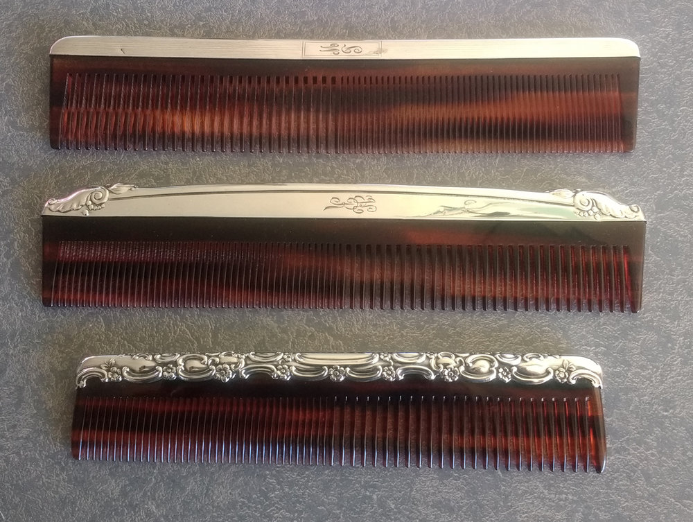 Notice that the engraving on the sterling silver comb fitter is different for each comb.