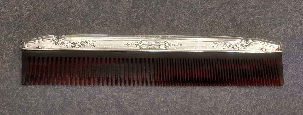 Art Deco sterling silver comb fitter repaired and polished