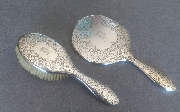 sterling silver hand mirror and brush polished