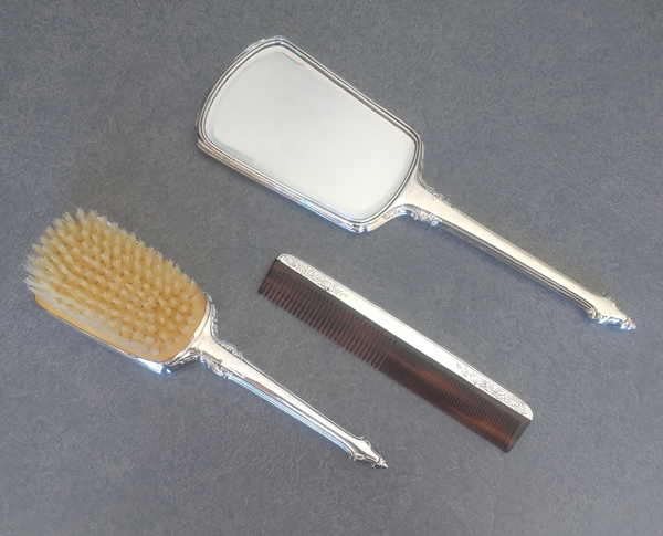 sterling silver dresser set with new brush, comb and beveled mirror