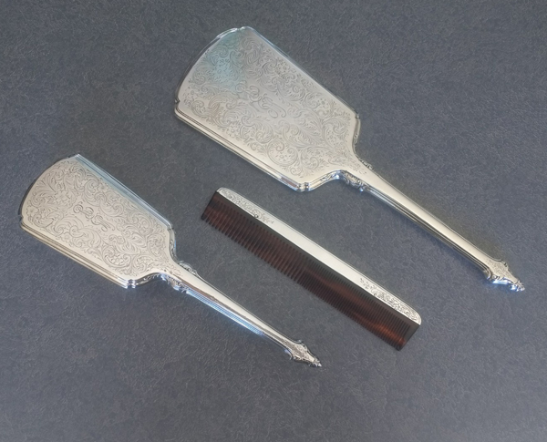 sterling silver dresser set brush, comb and mirror polished silver