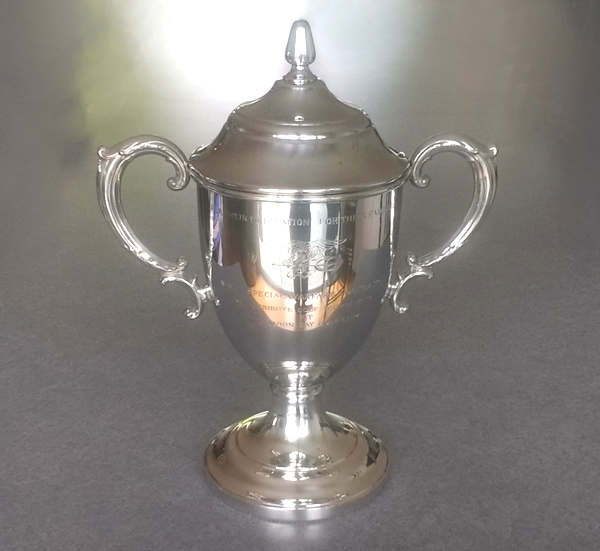 Pewter trophy after restoration repair and polishing