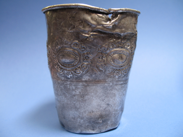 Sterling silver kiddish cup damaged by garbage disposal
