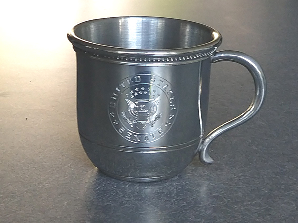 Pewter baby cup repaired