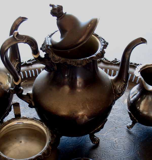 sterling silver teapot with dents and damaged lid